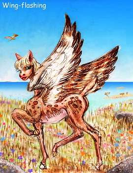 Fauna of Venus, 3000 AD: winged antelope, signaling to distant herd by flashing the white underside of her wings.