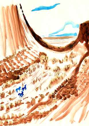 Sepia watercolor sketch of a desert pass on Venus, 3000 AD. Horselike figures lower left; scrub trees amid rocks; plains beyond.