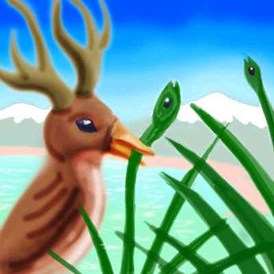 Dream: a Wapato Bird (brown, with antlers) plucking buds off a bush by a lake. The buds are maturing into bird-heads.