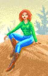 Cowgirl, a redhead in green shirt, blue jeans, leather boots, sitting on a sandy ledge.