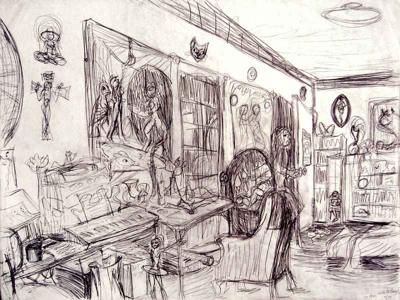 Line drawing of Wayan's studio: workstations. Click to enlarge.