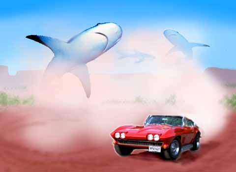 Dream: air-sharks circle a red car.