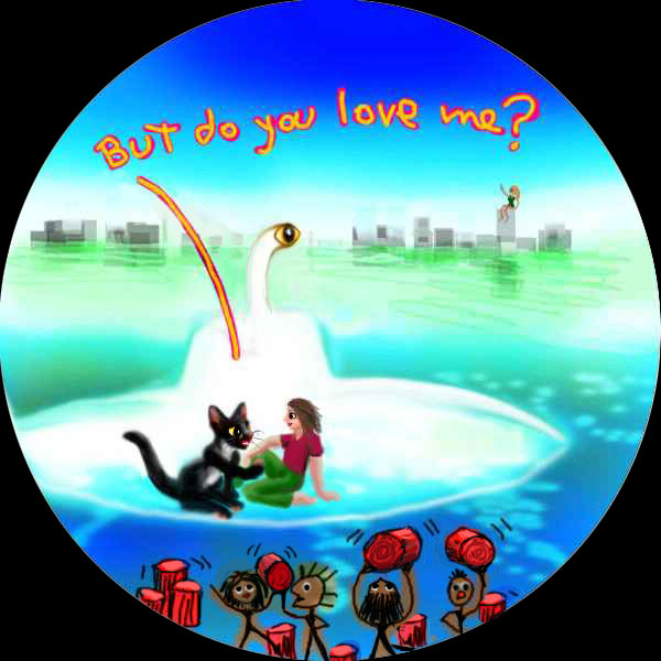 round cartoon of man and black cat in a white submarine, flooded city in background. On the sea floor, cartoon people lift red drums. The cat says 'But do you love me?'