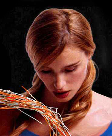 Dream: in a dark space, I stare at a frayed, loose braid of orange and white wires.