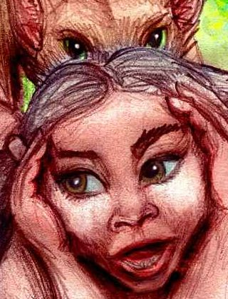 wolf girl's face; sketch of a dream by Wayan.
