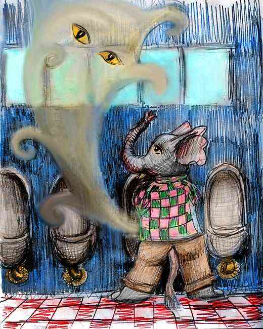 Dream: I'm an elephant in a bathroom, inadvertently summoning the Genie of the Urinal.