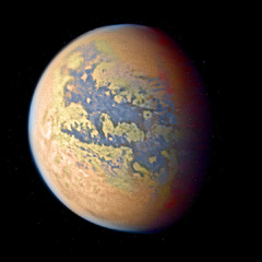 Orbital photo of Xanadu, a world model like a wetter Titan.