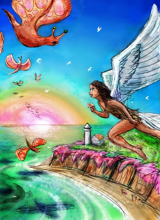 Dream: I have wings. Above a cove with a lighthouse, I meet the Dragonfly People from over the Great Sea, their wings like reddish seed pods, and faces like manta rays with stalked snail eyes.  Click to enlarge.